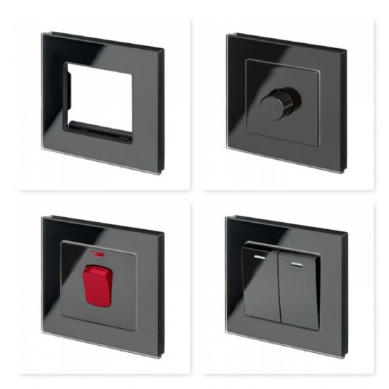 Crystal Black Plain Glass Switches & Sockets